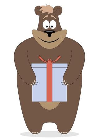 joyful bear holding a gift in paws Illustration