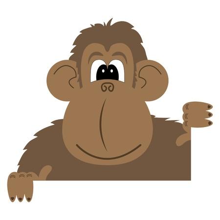 cartoon vector illustration of a monkey