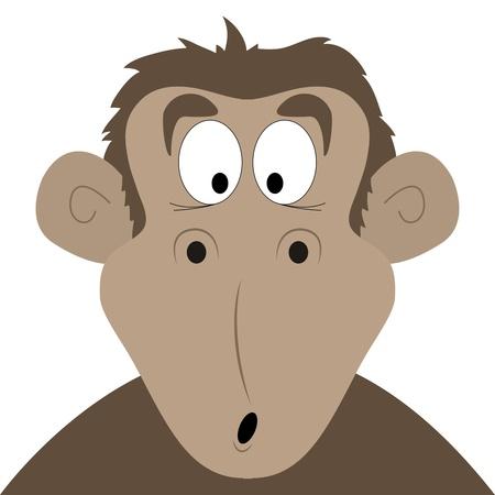 Surprised vector cartoon monkey on a white background Illustration