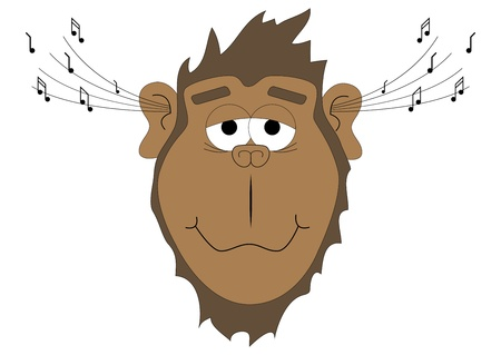 illustration of a monkey listening to music Vector
