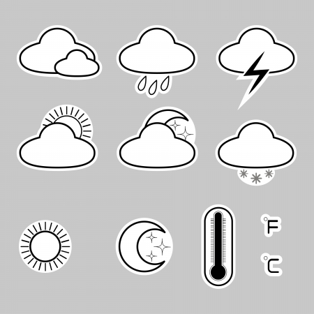 set of icons denoting the weather on a gray background Illustration