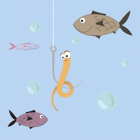 cartoon illustration of a worm on a fishing trip