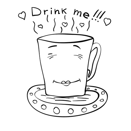 non alcoholic beverage: sketch of a cup of tea on a saucer