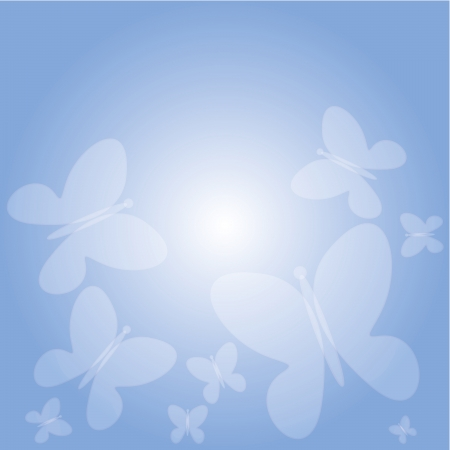 blue background with butterflies Stock Photo