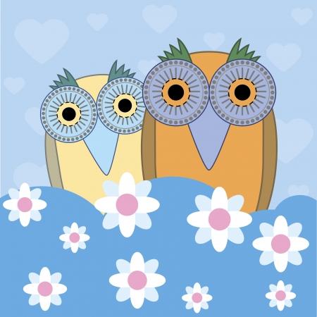 illustration of funny cartoon owls