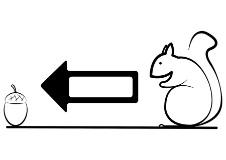 illustration of the squirrel goes to acorn