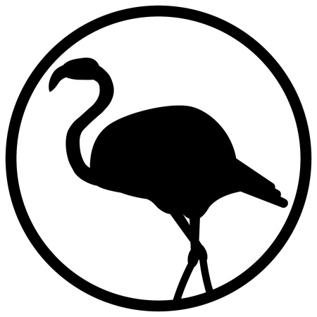 black and white sign flamingo