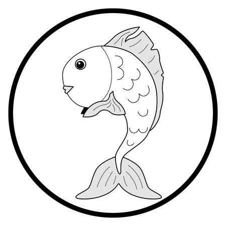 black-and-white illustration goldfish