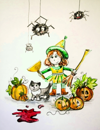 drawing water color pencils preparation for Halloween