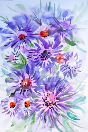 watercolor drawing of beautiful flowers