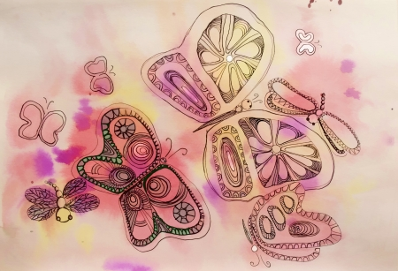 vague: butterfly on a colorful watercolor background vague