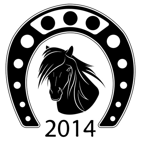 black and white vector illustration of symbol of the new year Vector