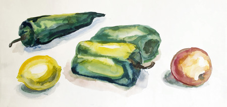 different fruits painted in watercolor on paper Editorial