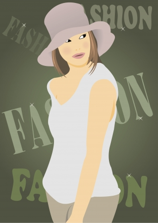 vector illustration of a pretty fashionable girl Illustration