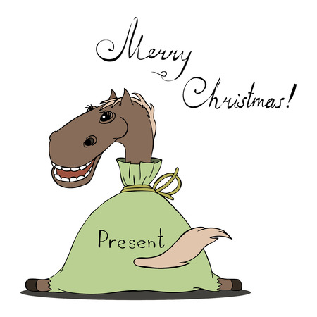 vector illustration of a horse for Christmas Illustration