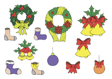Vector color illustration of toys for Christmas Illustration