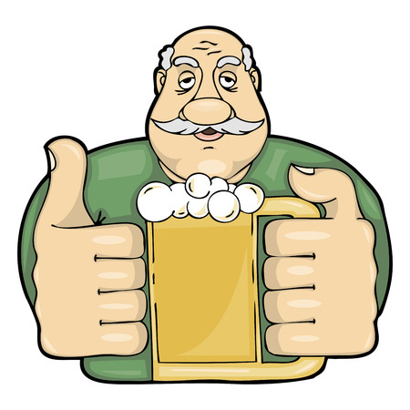 Vector mustachioed man with a glass of beer Vector