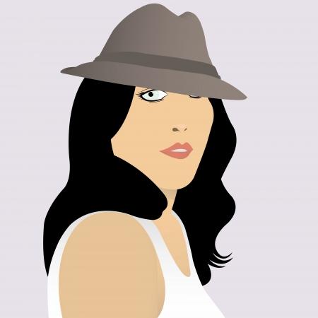 ragazza giovane bella: illustrazione vettoriale di una bella ragazza in un cappello