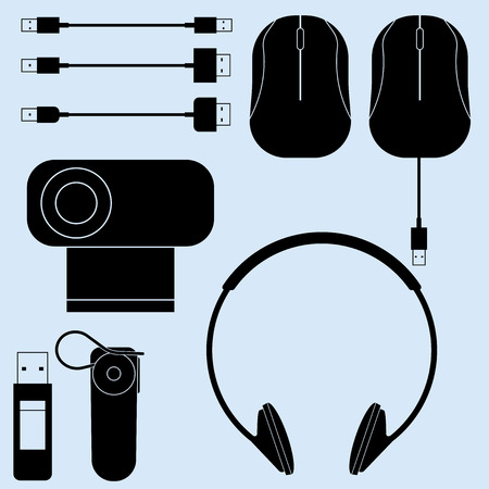 peripherals: vector illustration of computer peripherals and cords Illustration