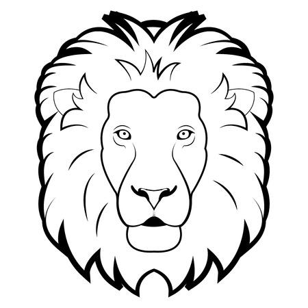 black and white illustration of lion Vector
