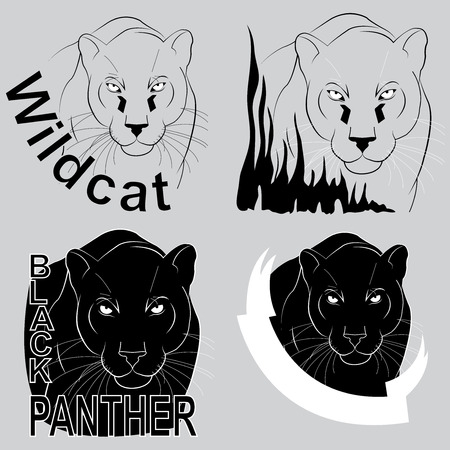 icon with the image of a black panther Vector