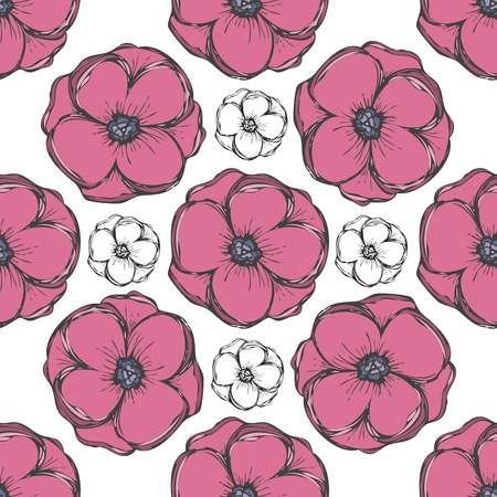 Seamless  pattern. white flowers graphics. Illustration