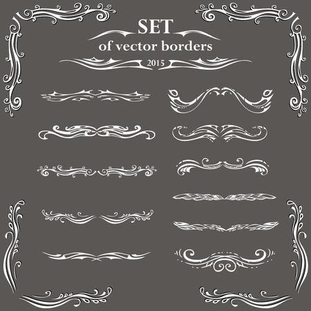 leaf curl: Set of decorative design elements and page decor