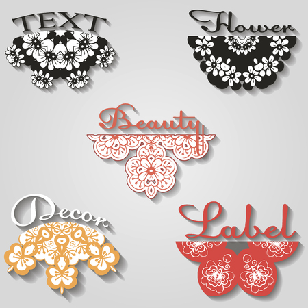 set of beautiful vector of flowers design Illustration