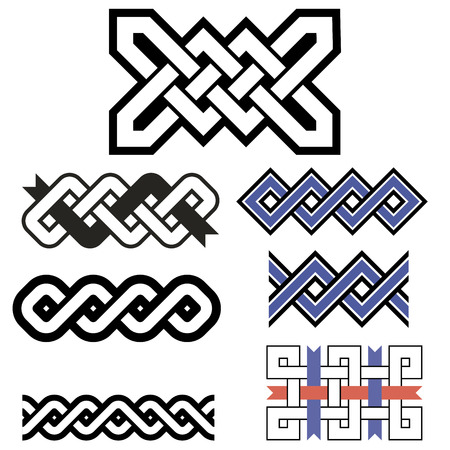 celt: Celtic patterns set. Abstract geometric patterns wicker Illustration