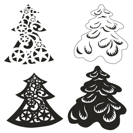 vector set of beautifully decorated Christmas trees
