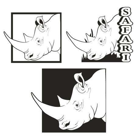 tusk: Vector set of logos depicting the rhino