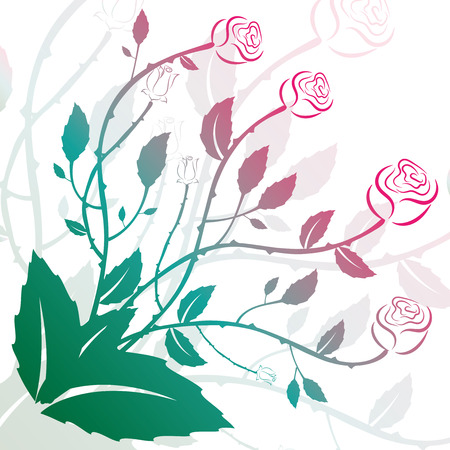 Beautiful floral illustration with swirls decorative ornament.