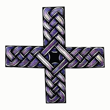 celtic cross: abstract illustration of a Celtic cross painted handle