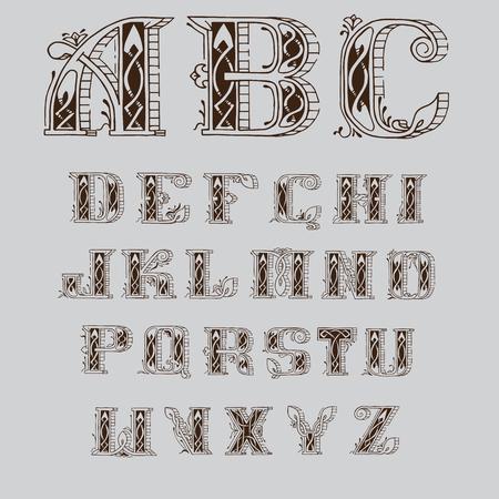 fuente céltica adornada con los patrones y remolinos Ilustración de vector