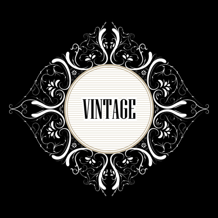 beautiful vector vintage label decorated with swirls