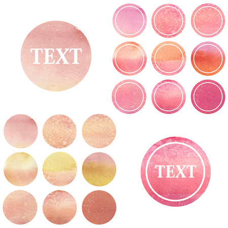 Set of round watercolor labels Stock Photo