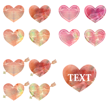 Set of colored watercolor hearts