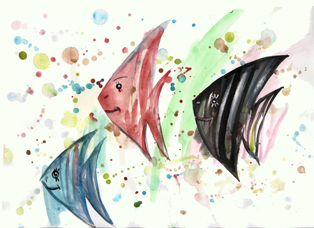 watercolor fish on the background of blots