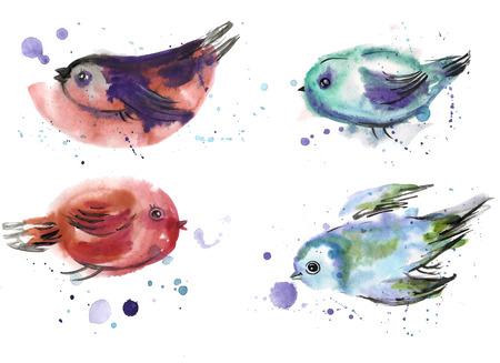 Childrens drawing. Birds painted in watercolor.