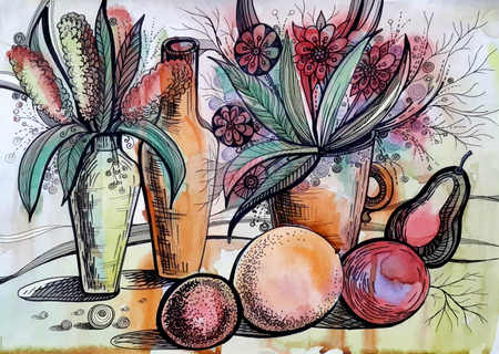 Watercolor drawing with flowers and fruits Stock Photo