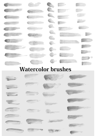Large set of watercolor brushes