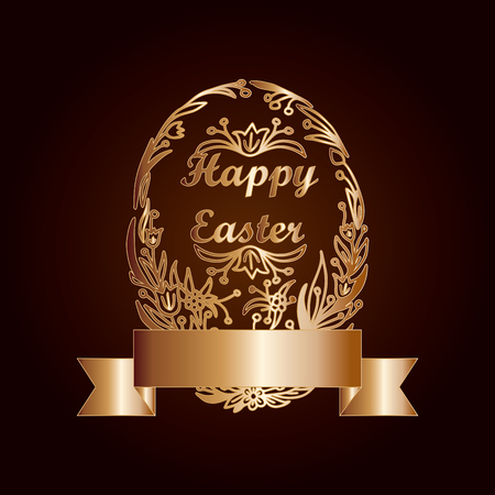 Easter Egg in Vintage Style Stock Photo