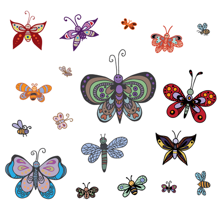 Set of butterflies of different styles