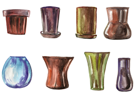 Watercolor flowerpots for flowers of different styles Stock Photo