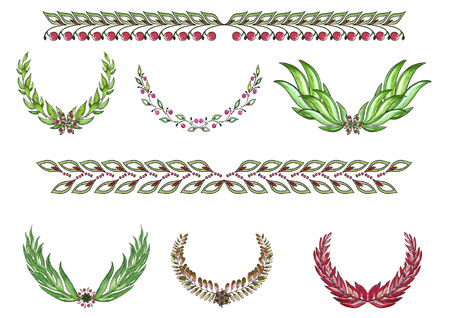 Set of watercolor wreaths and borders
