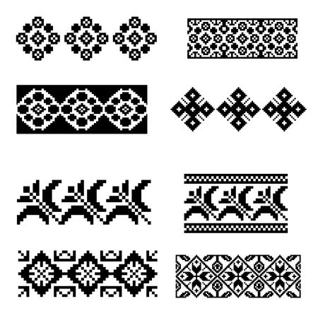 Set of pixel square vector patterns Illustration
