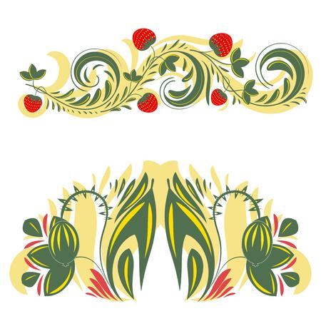 russian pattern: Beautiful vector floral khokhloma patterns.