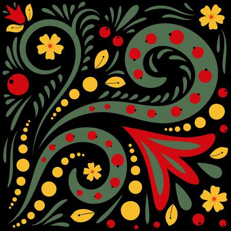 Beautiful vector floral khokhloma patterns.
