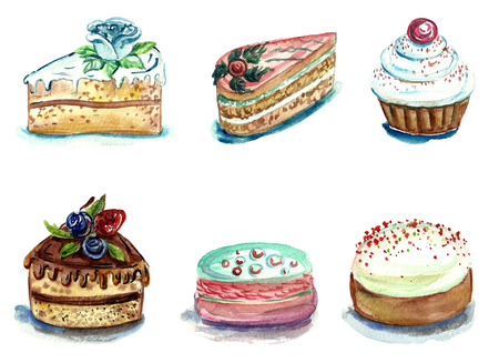 Set of watercolor cakes and pastries of different kinds