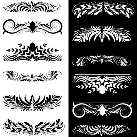Set of decorative design elements. Illustration